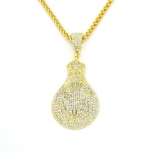"Other - 14k Gold Money Bag Cash $ Pendant 28"" Link Chain"